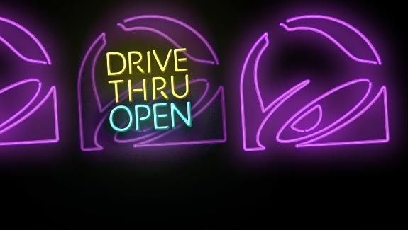 """Drive-thru is open"" background."